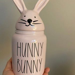 rae dunn all pink baby hunny bunny canister